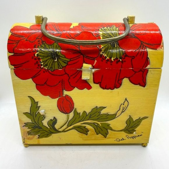 Miki Artist Signed Poppies Metal Lunch Pail Purse